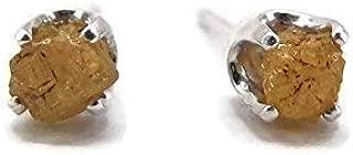 Natural Rough Raw Yellow Diamond Stud Earrings