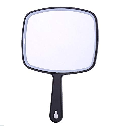Handheld Mirror with Handle, for Vanity Makeup Home Salon Travel Use (Quadrilateral, Black)