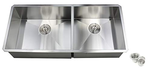 Contemporary Durable Zero Radius 16 Gauge Stainless Steel Double Bowl Undermount Kitchen Sink with Lift-out Basket Strainer (42 Inch 60/40)