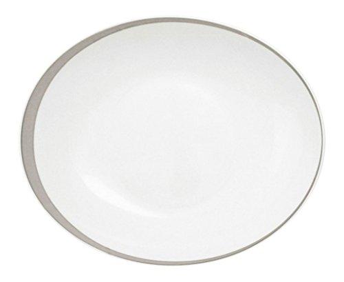 Guy Degrenne 186825 Boréal Ellipse Lot de 6 Assiettes Creuse Calotte Ovale Porcelaine Platine 23,5 x 20 x 4,5 cm