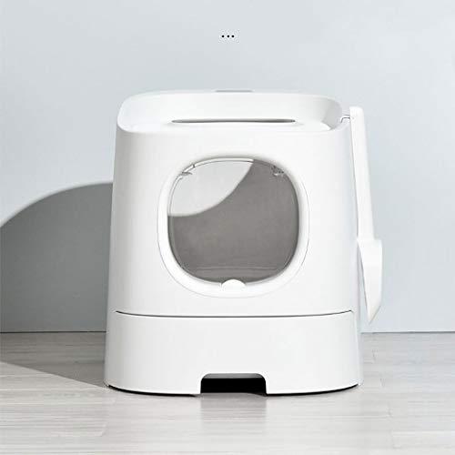 Valpkrukan Semi-innesluten kullkorg, stor katt toalettstänk-proof låda, deodorant kull box, katt levererar katt kull pan (vit) Sällskapsdjur toalett