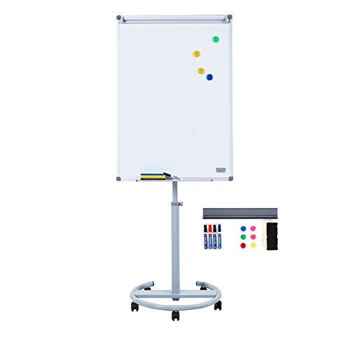S SWANCROWN Mobiles Whiteboard Magnetisch Flipchart mit Rundfu?, 100X70cm