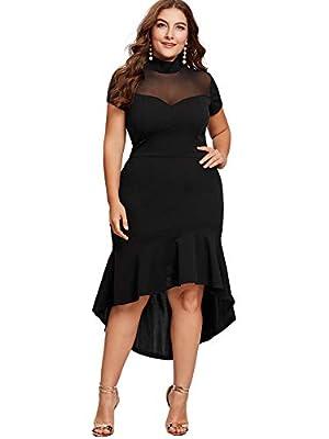 Milumia Women's Plus Size Elegant Mesh Frill Ruffle Round Neck Pencil Party Cocktail Dress Black XX-Large Plus
