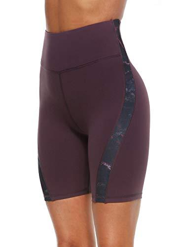 JOYSPELS Kurze Sporthose Radlerhose Damen, Kurze Hose Leggings Laufhose Damen Kurz Dunkellila M