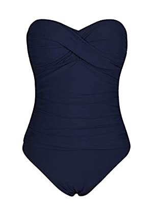 Hilor Women's Bandeau One Piece Swimsuits Front Twist Swimwear Ruched Bathing Suits Tummy Control Navy 14