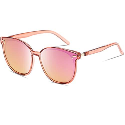 DUCO Übergroße Vintage Runde Polarisierte Retro Sonnenbrille für Frauen UV-Schutz W017 (Pink)