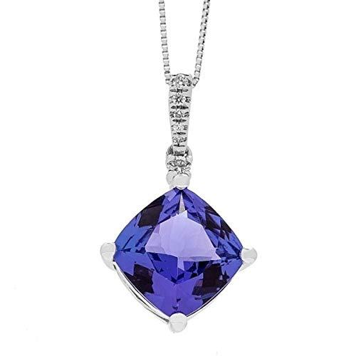 Gin & Grace 14K White Diamond Natural Oro (I1, I2) y genuino Tanzanita diamante natural (I1, I2) de los collares pendientes de la Mujer