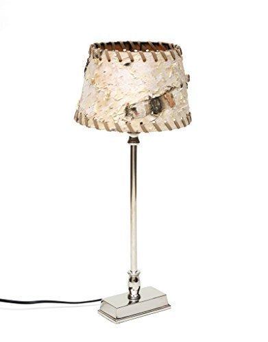 Design Tischlampe Tischleuchte Lampenschirm Birke Baumrinde Holz Metall Nachttischlampe Edel Silber Schirm Rund Rechteckig Brillibrum Flyer Geschenke Geschenkidee