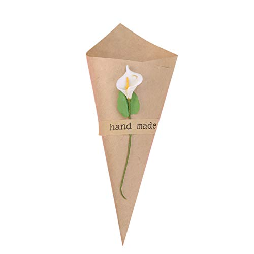 YARNOW 50Pcs Kraft Paper Cones Retro Wedding Confetti Cones Flower Holder Bouquet Candy Chocolate Bags Boxes Food Cones with Hemp Ropes Card Stickers for DIY Table Decor Party Gift Box