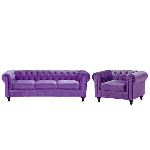 Beliani Wohnzimmer Set Sofa Sessel Samtstoff englischer Stil violett Chesterfield
