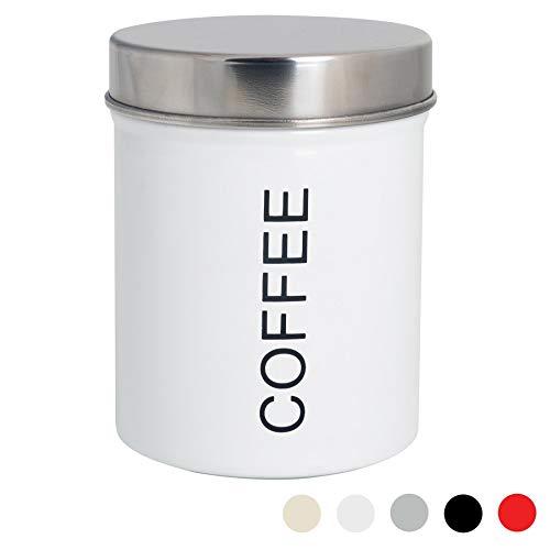 Harbour Housewares Moderne Kaffeebehälter - Stahl Küche Lagerung Caddy mit Gummidichtung - Weiß - 10 cm
