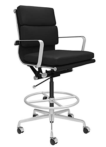 SOHO Soft Pad Drafting Chair - Ergonomically Designed and Commercial Grade Draft Height for Standing Desks (Black)