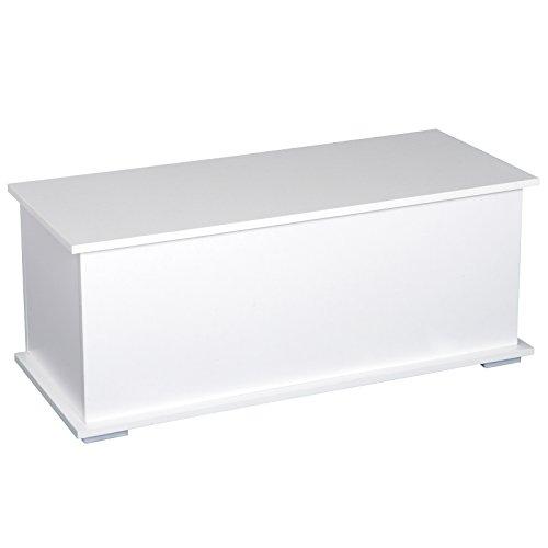 HOMCOM Truhe Aufbewahrungsbox Holzkiste mit klappbarem Deckel Spanplatte Weiß 100 x 40 x 40cm