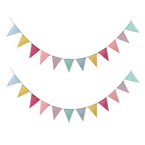 Gxhong Wimpelkette(2 Stück), Imitierte Sackleinen Wimpelkette Wimpel Banner Wimpel Girlande/mehrfarbige Flags Wimpelkette für Geburtstag, Hochzeit, Party-Dekorationen