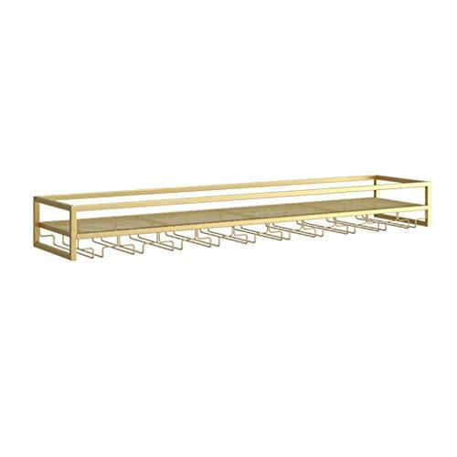 WWZWJ Botellero de pared, con soporte para cáliz, estante de almacenamiento de hierro/estante decorativo, apto para restaurante/bar/hogar (color: oro, tamaño: 50 x 25 x 15 cm)