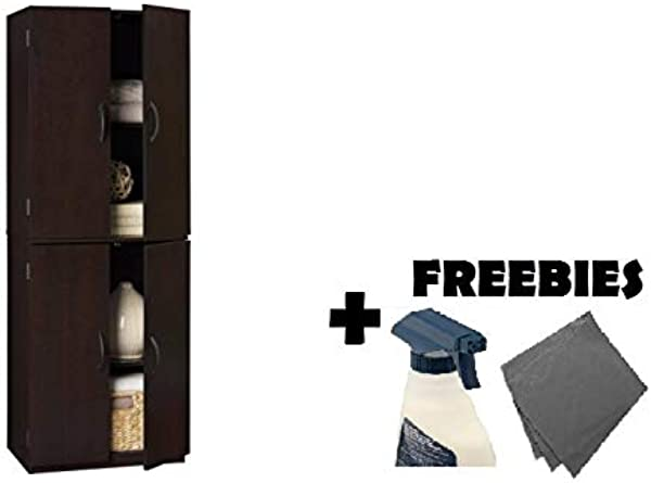 Mainstays Tall Storage Cabinet 4 Door Cinnamon Cherry FREEBIES