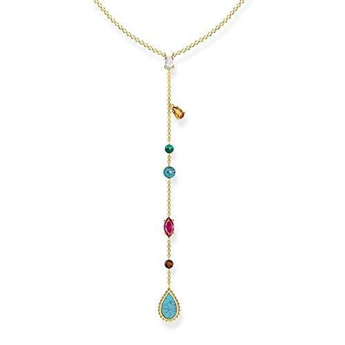 Thomas Sabo Damen-Halskette Glam & Soul Riviera Colours 925 Sterling Silber gelbgold vergoldet 50 cm KE1758-487-7-L50v