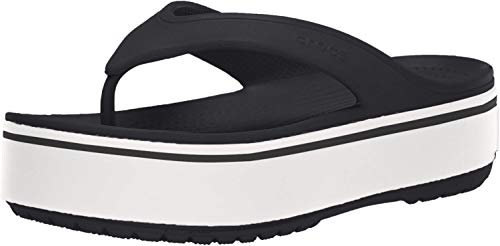 Crocs Crocband Platform Flip Flop, black/white, 6 US Men/ 8 US Women M US