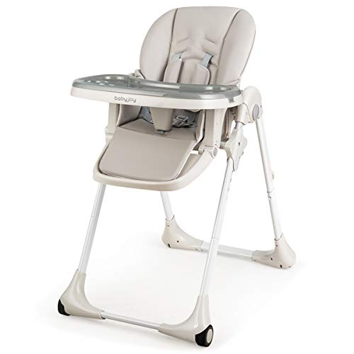 BABY JOY Convertible High Chair for Babies & Toddlers, Height Adjustable, Grow & Go High Chair w/Recline & Footrest, Removable Dishwasher Safe Meal Tray, Portable Baby Dinning Chair w/Wheels (Gray)