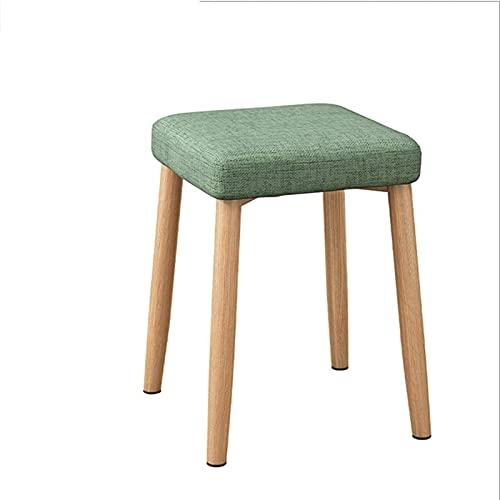 HZYDD Taburete de maquillaje para comedor, silla otomana, reposapiés, cojín suave, asiento para piano, color azul (color: verde)
