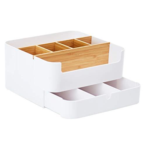 BJL Boîte de Rangement cosmétique-ABS + matériel de Bambou, Assemblage Multifonctionnel de personnalité créatrice, boîte de Rangement de Bureau Multifonction, Grande boîte de Rangement de cosmétiques