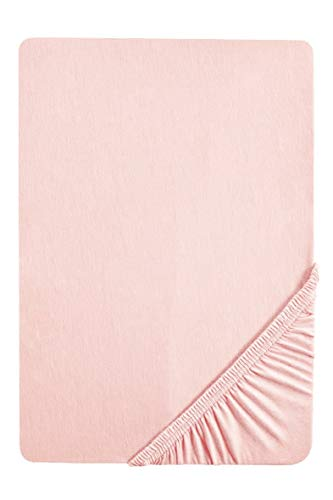 biberna 0077155 Spannbetttuch Jersey (Matratzenhöhe max. 22 cm) 1x 90x190 cm > 100x200 cm, hellrosa