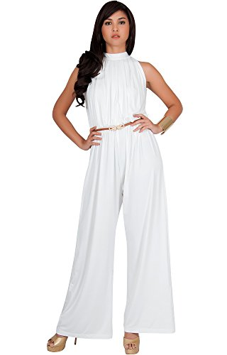 KOH KOH Petite Womens Sexy Sleeveless Halter-Neck Wide Leg Pants Cocktail Overall Long Work Day Suit Pant Suits Pantsuit Playsuit Jumpsuit Jumpsuits Romper Rompers, Ivory White S 4-6
