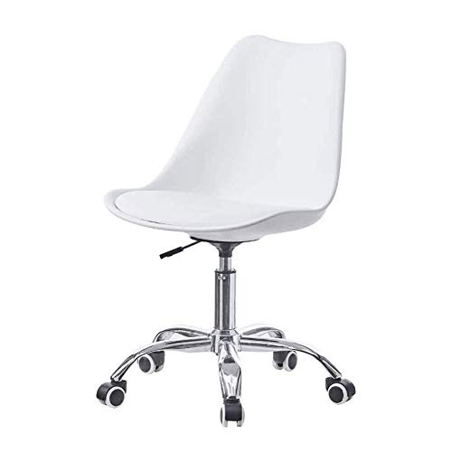 N/Z Daily Equipment Beauty Chair Barber Chair Tulip Swivel Chair Height Adjustable Office Computer Chair Plastic Desk Chairs with PU Leather Cushion Home Office Furniture (Color : Gray)