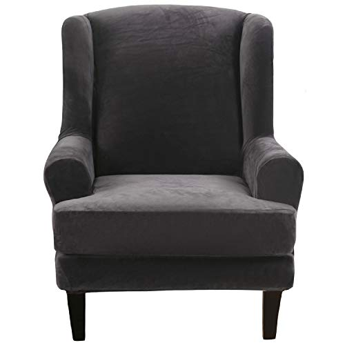 SHANNA Armchair Cover, Sofa Cover Stretch Wing Chair Slipcover for Armchairs - Silver-fox Faux Fur Soft Delicate Material - Wingback Chair Covers Furniture Protector - Dark Grey