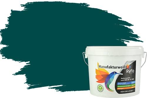 RyFo Colors Bunte Wandfarbe Manufakturweiß Amazonasgrün 6l - weitere Grün Farbtöne und Größen erhältlich, Deckkraft Klasse 1, Nassabrieb Klasse 1