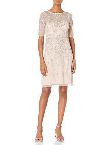 Adrianna Papell Women's Short Sleeve Beaded Cocktail Dress with Illusion Neckline, Shell, 12