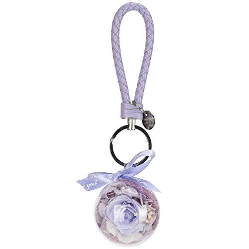 Snufeve6 Bolso Llavero, Delicado Llavero de Flores preservadas, Simple, Hermoso, Elegante para llaveros, automóviles, teléfonos móviles, Accesorios para Bolsos(Light Purple)
