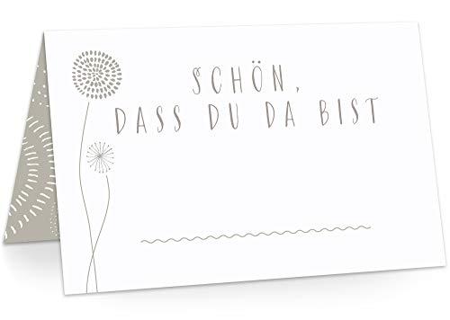 KAWAI-KAMI Tischkarten Platzkarten Namenskarten für Hochzeit Geburtstag Feier Taufe Kommunion Konfirmation Firmung Jugendweihe, 50 Stück Premium Qualität, Blumen-Dekor, Romantic Stone (Grau)