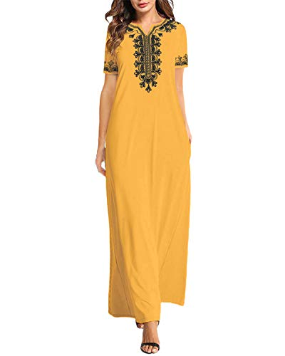 VONDA Sommerkleider Damen Lang Elegant Kurzarm Kleid Stickerei Kaftan Maxikleider Grafik Strandkleid B-Gelb M