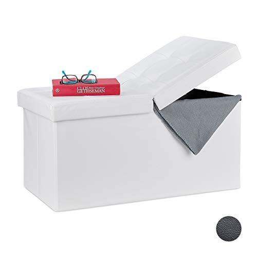 Relaxdays Sitzbank, mit Stauraum, faltbar, Leder-Optik, klappbarer Deckel, Flur, Schlafzimmer, Polster Truhenbank, weiß