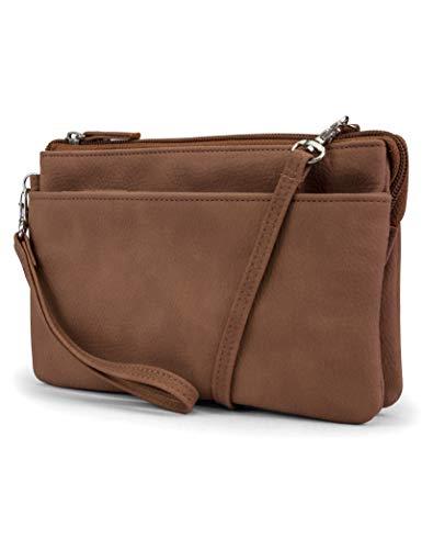 Mundi Brady Anti Theft Womens Cell Phone Crossbody wallet RFID Purse (Brown Sugar)
