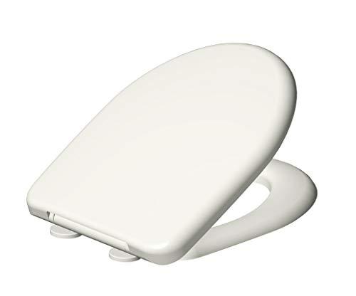 Grünblatt WC Sitz 515204 D-Form Toilettensitz passend zu Keramag Renova No 1 Absenkautomatik und abnehmbar zur Reinigung, Hochwertiges Material Duroplast, weiß