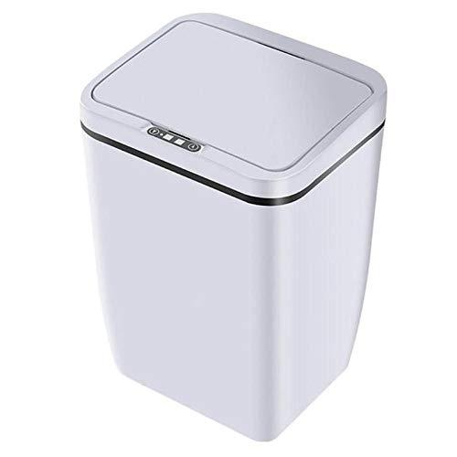Type batterij automatische sensor vuilnisbak Smart Sensor Trash Can Inductie Waste Bin Afval Can Woonkamer van het Huis huisvuilemmer (Color : White)