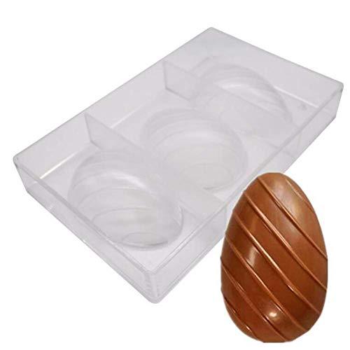 Stampo 3D in policarbonato trasparente a 3 fori, per uova di Pasqua, cioccolatini, uova di Pasqua, cioccolatini, cioccolatini, biscotti, teglie