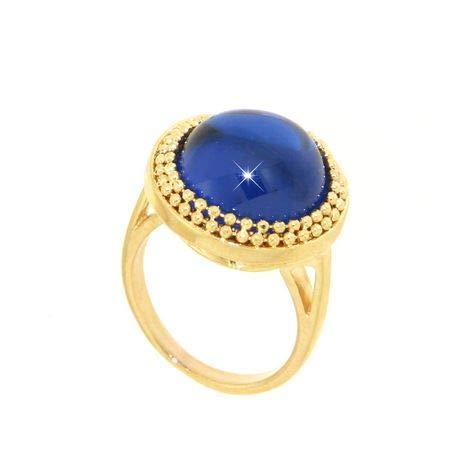 Gabriela Rigamonti Jewels-Anello Oro giallo 14kt con gemma semipreziosa quarzo blu.