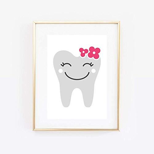 Din A4 Kunstdruck - ungerahmt - Zahn mit Blumen Zähne Zahnarzt Zahnfee Comic Style Druck Poster Bild
