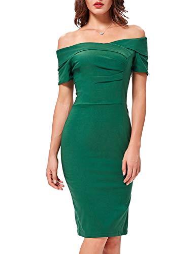 Belle Poque Off Shoulder Women's Pencil Dress Short Sleeve Green