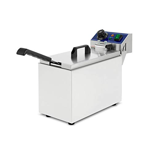vertes Fritteuse 8L (3000 Watt, Temperatur regelbar bis 200°C, elektrisch 230V, 4L Öl Kapazität, Kaltzonen-Prinzip, Frittier Korb, Reset Funktion, Edelstahl, Gastronomie)