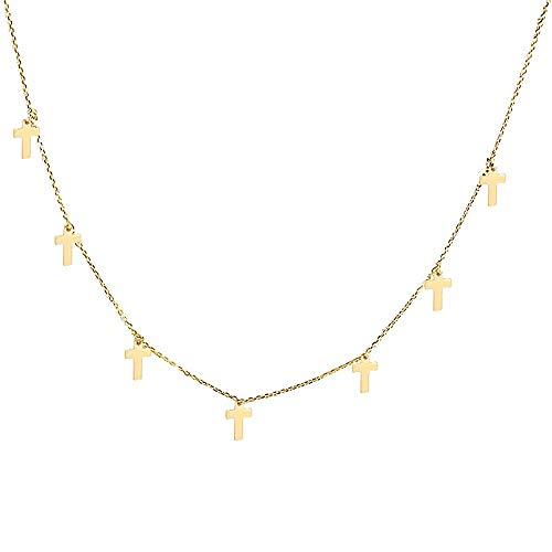 Gargantilla oro 18k colección Alexandra 44cm. cruces lisas colgando