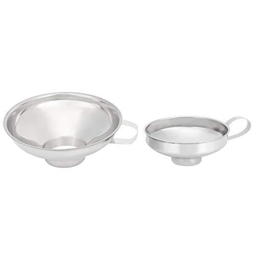 Imbuto da cucina in acciaio inossidabile da 2 pezzi Imbuto a bocca larga con manico per barattoli di vetro Vasetti per inscatolamento Trasferimento di liquidi e ingredienti secchi