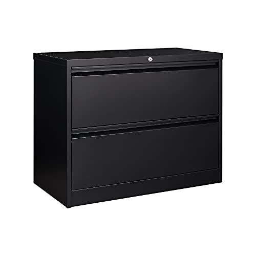 Lateral File Cabinet with Lock, 2 Drawer Lateral Filing Cabinet, Large Deep Drawers Locked by Keys, Metal Storage File Cabinet for Hanging Files...