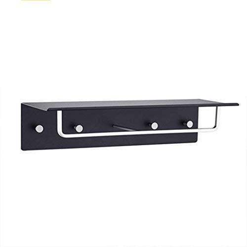 KSW_KKW Suspensión de la Pared Estante de Toalla de Aluminio del Espacio de baño Toalla Rack de 2 Capas Plataforma de baño Cuarto de baño Hardware Colgante Negro Perforado