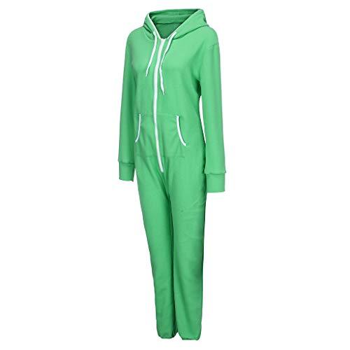 Sllowwa Damen Jumpsuit Reine Farbe bequem gebürstetem Plüsch Verdickung Reißverschluss einteiliger Overall S-2XL(M,Grün)