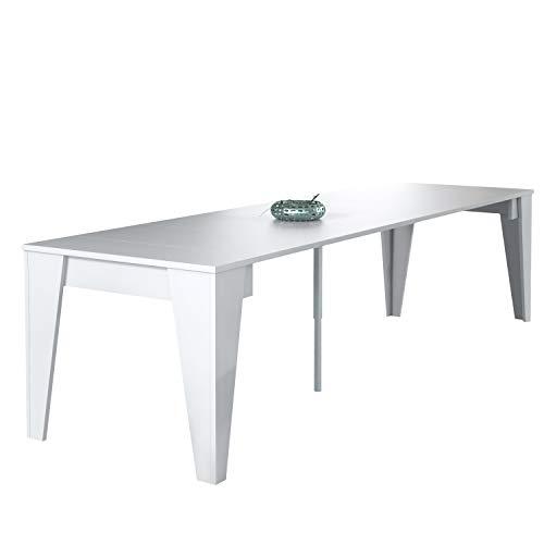 Konsolen-Esstisch TM ausziehbar bis 305cm, weiß, Maße geschlossen: 90x53,6x74,6 cm hoch.