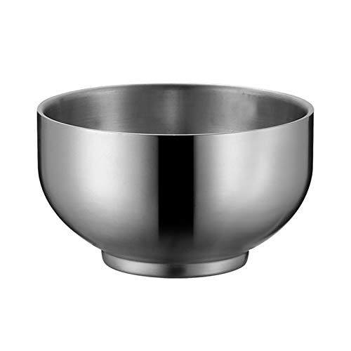 Zhenwo Servierschüssel Salatschüssel Metall Schalen Rührschüssel Edelstahlschüssel Freien Reise Schalen, Zweischichtige Anti-Hot-Schüssel Aus Edelstahl,Silber